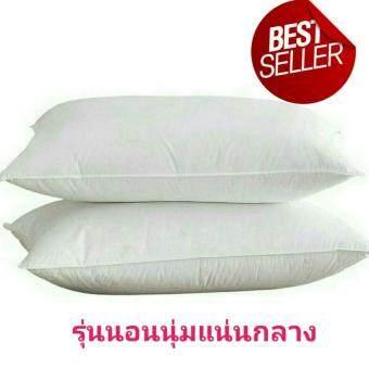 แพ็คคู่สุดคุ้ม หมอนขนห่านเทียมสำหรับคนชอบนอนนุ่มแน่นกลาง Premium Microfiber Pillow กันไรฝุ่นและเชื้อรา