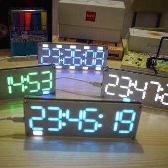 DIY 6 ไฟ LED ตัวเลขขนาดใหญ่ 2 สีหลอดดิจิตอลเดสก์ท็อปชุดนาฬิกา TOUCH Control Ice Blue - INTL-