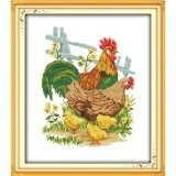 ปักครอสติสเย็บปักถักร้อย Cross Stitch Chicken Animal Pattern Diy 3D Handmade 14Ct Printed Pattern Needlework Embroidery Cross Stitch Kit เป็นต้นฉบับ