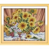 ซื้อ ปักครอสติสเย็บปักถักร้อย Cross Stitch Sunflower Flower Pattern Diy 3D Handmade 14Ct Printed Pattern Needlework Embroidery Cross Stitch Kit ใน จีน