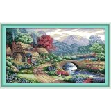 ราคา ปักครอสติสเย็บปักถักร้อย Cross Stitch Landscape Scenery Countryside Pattern Diy 3D Handmade 14Ct Printed Pattern Needlework Embroidery Cross Stitch Kit ใน จีน