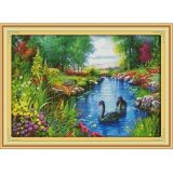 ขาย ปักครอสติสเย็บปักถักร้อย Cross Stitch Landscape Scenery Pattern Diy 3D Handmade 14Ct Printed Pattern Needlework Embroidery Cross Stitch Kit Joy Sunday ถูก