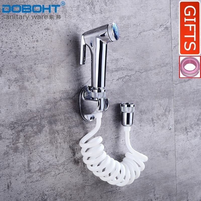 Doboht ห้องน้ำสเปรย์แบบมีด้ามจับโถฉี่ล้างสายฝักบัวอาบน้ำพีวีซีที่วางฝักบัวอาบน้ำ (chrome) - Intl.