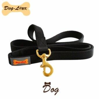Dog-Link สายจูงไนล่อนตะขอทองเหลือง ขนาด 25 มิล สีดำ