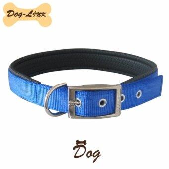 Dog-Link ปลอกคอนุ่มสีน้ำเงิน 16 mm.