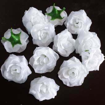 Dokpikul-หัวดอกกุหลาบปลอม ดอกไม้ผ้าประดิษฐ์ กุหลาบพวง สีขาว 5.5ซม. แพค 100ดอก