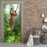 Door Mural 3D Monkey Door Sticker Self Adhesive Waterproof Wallpaper Post For Home Decor 30X79 77X200Cm Intl ถูก