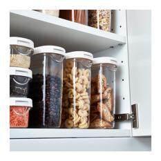 Drybox กล่องใส่อาหารแห้ง Dry Food Jar With Lid  จุ1.3 L (ใส-ขาว).