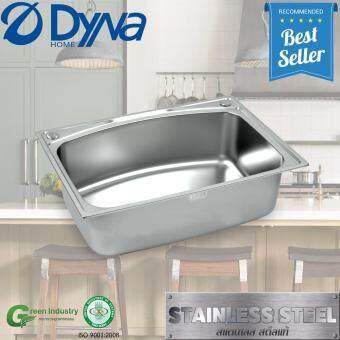 Dyna Home ซิงค์ล้างจาน หนึ่งหลุม สแตนเลส อ่างล้างจาน sink แบบฝังหนา 0.8mm. รุ่น DH-7050+ก๊อกน้ำเซรามิกส์วาว