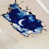 Eachgo 3D Sky Moon Ceiling Floor Wall Sticker Removable Mural Decals Art Living Room Decors Intl ถูก
