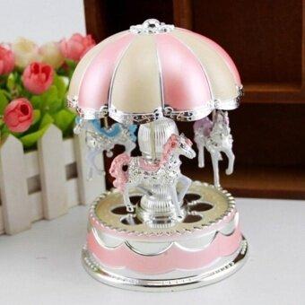 Eachgo Birthday Christmas Gift Romantic Carousel Music Box Merry-Go-Round Box with Flash Light - intl