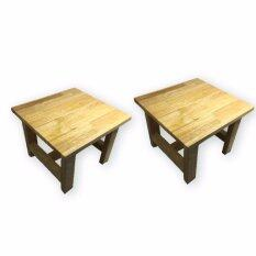 เก้าอี้ไม้ยางพาราสี่เหลี่ยม ขนาดเล็ก สูง 24  1 คู่ By Ryder Trading.