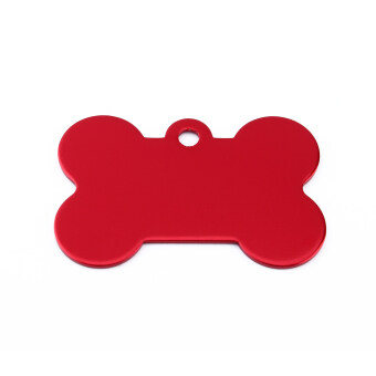 Engraved Customised Bone Pet Dog Cat Animal ID Tags Name(Red)