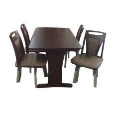 ราคา Enzio ชุดโต๊ะอาหารไม้ยางพารา 4 ที่นั่ง ไพลิน รุ่น Wisdom 1