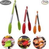 ซื้อ Esogoal อาหารแหนบ ชุด 3 7 9 12 นิ้ว Heavy Duty ครัวสแตนเลสแหนบที่มีซิลิโคนเคล็ดลับ Multicolor เขียว แดง ส้ม จีน