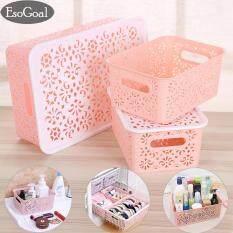 ซื้อ Esogoal Plastic Desktop Hollow Storage Basket Kitchen Organizer Clothes Toys Storage Container Set Of 3 ออนไลน์ ถูก