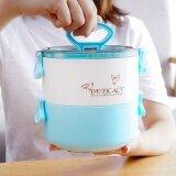 ขาย ซื้อ Esogoal Portable 2 Layer Plastic Lunch Box ปิ่นโตส สูญญากาศ 3 ชั้น ทรงกลม Bento Lunch Box Food Picnic Storage Mix Color หลากสีพาสเทล