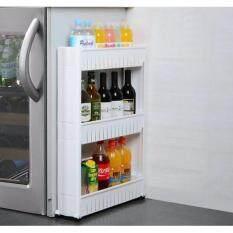 ซื้อ Etc ชั้นวางของในที่แคบ ชั้นวางของข้างตู้เย็น ชั้นวางของอเนกประสงค์ แบบมีล้อเลื่อน 3 ชั้น White Etc ถูก