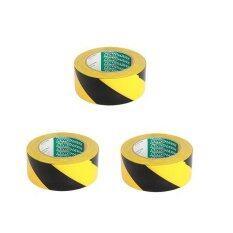เทปตีเส้นพื้น 2 นิ้ว สีเหลืองสลับดำ (3ม้วน) By C.w.d. International.