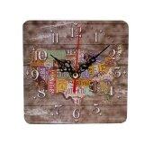 ความคิดเห็น European Retro Vintage Clock Wall Clocks Square Imitation Woody Clocks M Intl