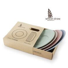 ซื้อ European Style Wheat Dining Creative Dish Fruit Meal Plates Dinner Kitchen Plastic Dinnerware 4Pcs Per Set ออนไลน์ ถูก