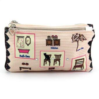 Fabric กระเป๋าผ้าคล้องแขน ซิป 2 ช่อง พิมพ์ลาย – สีครีมอมชมพู