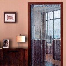 โปรโมชั่น Fashion Shiny String Line Tassel Divider Curtain Door Window Curtain Panels Screen Decoration For Home Room Wedding Party Shop Window 95 X 1 95M Silver Intl