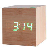 ซื้อ Fashion Wood Digital Led Desk Alarm Clock Green ออนไลน์