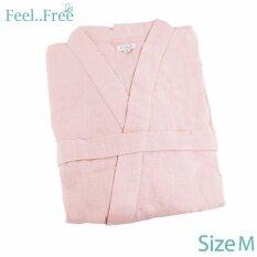 โปรโมชั่น Feel Free เสื้อคลุมอาบน้ำ Hush Triple Gauze ขนาด Freesize สีชมพู Feel Free