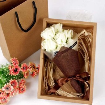 Festival Gift Hand Bouquet soap Flower Gift Box - Beige Yellow - intl