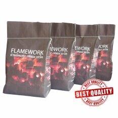 Flamework  Bbq Briquette Charcoal ถ่านบาร์บีคิวอัดแท่ง 3 ก.ก.x 4.