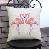 ซื้อ Flamingo Painting Linen Cushion Cover Throw Waist Pillow Case Sofa Home Decor E Intl ออนไลน์ จีน