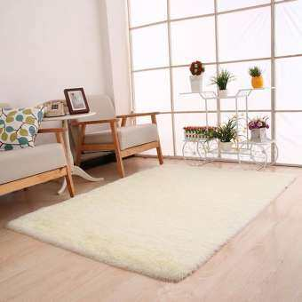 ราคา Fluffy Rugs Anti-Skid Shaggy Area Rug Dining Room Bedroom Carpet Floor Mat White