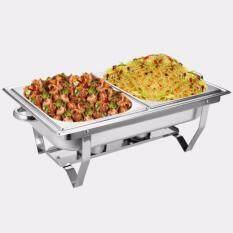 ถาดบุฟเฟ่ต์ สเตนเลส 2ช่อง (1 ชุด) FOFO Chafing dish ถาดอุ่นอาหาร Discount ชุดถาดบุฟเฟ่ต์