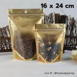 โปรโมชั่น ถุงพลาสติกหน้าใสหลังสีทอง มีซิปล็อค ตั้งได้ Food Grade 16 X 24 Cm 100 ใบ ใน กรุงเทพมหานคร