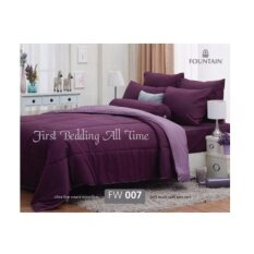 Fountain Solid ชุดผ้านวม+ผ้าปูที่นอน ขนาด 6ฟุต ฟาวเท่นสีพื้น รหัส Fw-007 โทนสีม่วงทูโทน.