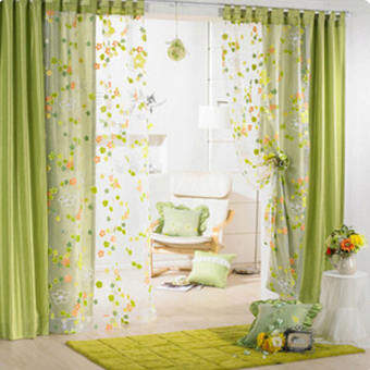 Freebang ดอกไม้ประตูผ้าม่านหน้าต่างผ้าม่าน Voile Room หน้าจอตัวแบ่ง-