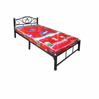 RF Furniture Bed เตียงเหล็ก + ที่นอนโฟมฟองน้ำ ขนาด  3.5 ฟุต ( สีดำ )