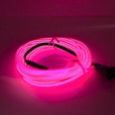 ราคา G2G ไฟเส้นนีออนเรืองแสง El Wire ความยาว 3 เมตร พร้อมอะแดปเตอร์ควบคุม สำหรับตกแต่งเพื่อความสวยงาม สีชมพู จำนวน 1 ชิ้น ใหม่