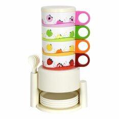 GALAXY ชุดแก้วกาแฟ RAINBOW CUP SET 4 ใบ ลายผลไม้ รุ่น D559