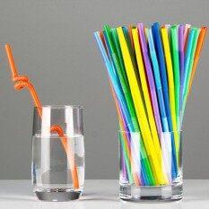 Gethome 100 ชิ้นยาวพิเศษพลาสติกยืดหยุ่นหลอดดูดดื่มปาร์ตี้บาร์ดื่ม-นานาชาติ.