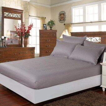 GoGoLife Fitted Sheet 100% Cotton Damask Stripe BedsheetPillowcase Sets Bedspreads-Silvery Grey