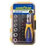 ราคา Goodyear ชุดไขควงบล็อก 37Pcs Gy 5822 สีโครเมี่ยม เป็นต้นฉบับ Goodyear