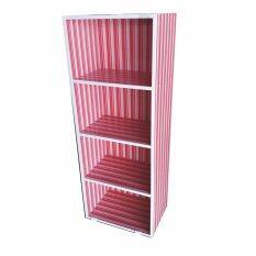 Grace Shop ตู้ล๊อคเกอร์ ตู้เก็บของ ตู้เอนกประสงค์ 4 ชั้น โล่ง (สีแดงลายเส้น).