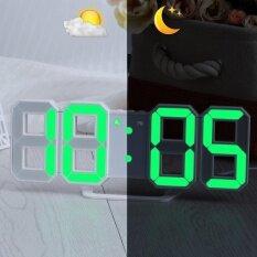ซื้อ Green Led Digital Numbers Wall Clock With 3 Levels Brightness Alarm Snooze Clock Intl ออนไลน์