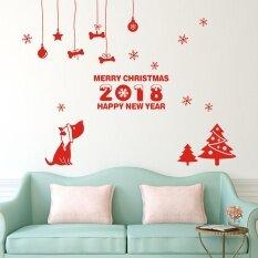 ส่วนลด Happy ใหม่ปี 2018 Merry Christmas Wall Sticker หน้าแรกร้านค้า Windows Decals Decor Unbranded Generic