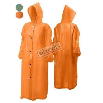 Heavy PVC Raincoat เสื้อคลุมกันฝน PVC มีฮู้ด ฟรีไซส์ (สีส้มสะท้อนแสง)-