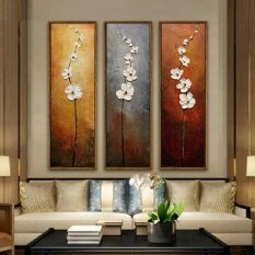 Home Decoration 3pcs Set Colorful Flower Unframed Canvas Abstract Painting - Intl.