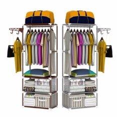 ซื้อ Homethings ราวแขวนเสื้อ ตู้เสื้อผ้า ราวแขวนผ้า ตู้ เสื้อผ้า พลาสติก 3 In 1 สีขาว ใหม่