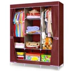 ขาย House Brand ตู้เสื้อผ้า พร้อมผ้าคลุม 3 บล็อค รุ่น R303 สีแดง ไทย